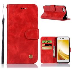 Luxury Retro Leather Wallet Case for Vivo Y53 - Red