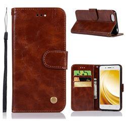 Luxury Retro Leather Wallet Case for Vivo Y53 - Brown