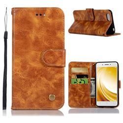 Luxury Retro Leather Wallet Case for Vivo Y53 - Golden