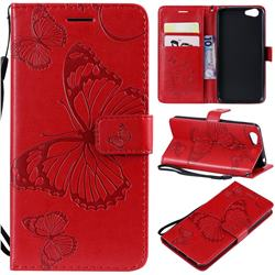 Embossing 3D Butterfly Leather Wallet Case for Vivo Y53 - Red