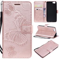 Embossing 3D Butterfly Leather Wallet Case for Vivo Y53 - Rose Gold