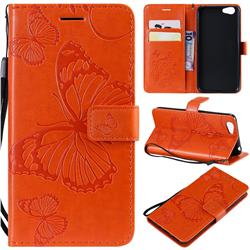 Embossing 3D Butterfly Leather Wallet Case for Vivo Y53 - Orange