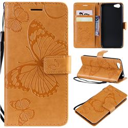 Embossing 3D Butterfly Leather Wallet Case for Vivo Y53 - Yellow