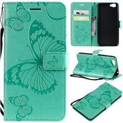 Embossing 3D Butterfly Leather Wallet Case for Vivo Y53 - Green