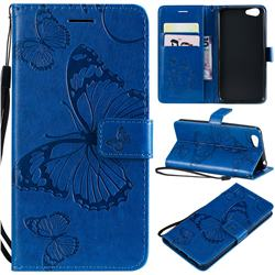 Embossing 3D Butterfly Leather Wallet Case for Vivo Y53 - Blue