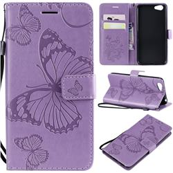 Embossing 3D Butterfly Leather Wallet Case for Vivo Y53 - Purple