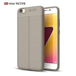 Luxury Auto Focus Litchi Texture Silicone TPU Back Cover for Vivo Y67 - Gray