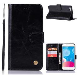 Luxury Retro Leather Wallet Case for Vivo Y67 - Black