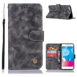 Luxury Retro Leather Wallet Case for Vivo Y67 - Gray