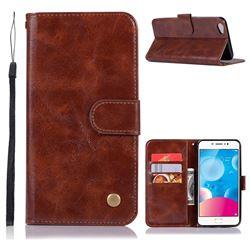 Luxury Retro Leather Wallet Case for Vivo Y67 - Brown
