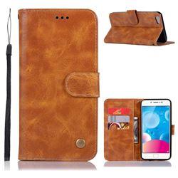 Luxury Retro Leather Wallet Case for Vivo Y67 - Golden