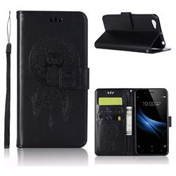 Intricate Embossing Owl Campanula Leather Wallet Case for Vivo Y67 - Black