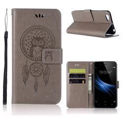 Intricate Embossing Owl Campanula Leather Wallet Case for Vivo Y67 - Grey