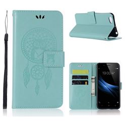 Intricate Embossing Owl Campanula Leather Wallet Case for Vivo Y67 - Green