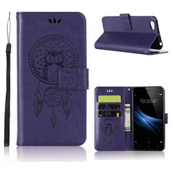 Intricate Embossing Owl Campanula Leather Wallet Case for Vivo Y67 - Purple