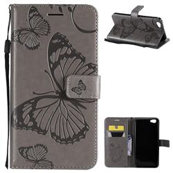 Embossing 3D Butterfly Leather Wallet Case for Vivo Y67 - Gray