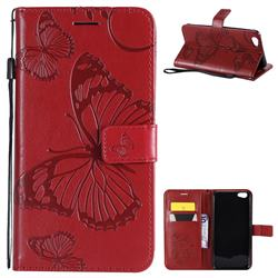 Embossing 3D Butterfly Leather Wallet Case for Vivo Y67 - Red