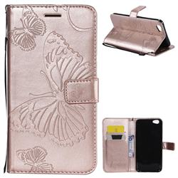 Embossing 3D Butterfly Leather Wallet Case for Vivo Y67 - Rose Gold