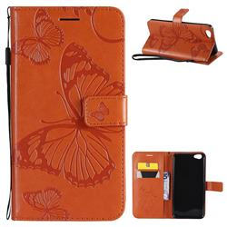 Embossing 3D Butterfly Leather Wallet Case for Vivo Y67 - Orange