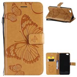 Embossing 3D Butterfly Leather Wallet Case for Vivo Y67 - Yellow
