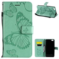 Embossing 3D Butterfly Leather Wallet Case for Vivo Y67 - Green