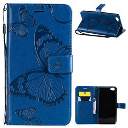 Embossing 3D Butterfly Leather Wallet Case for Vivo Y67 - Blue