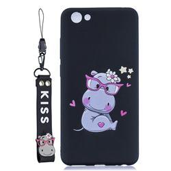 Black Flower Hippo Soft Kiss Candy Hand Strap Silicone Case for vivo Y71(vivo Y71i)