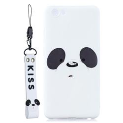 White Feather Panda Soft Kiss Candy Hand Strap Silicone Case for vivo Y71(vivo Y71i)