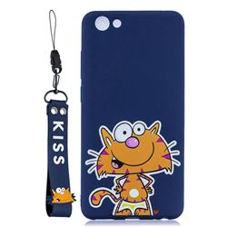 Blue Cute Cat Soft Kiss Candy Hand Strap Silicone Case for vivo Y71(vivo Y71i)