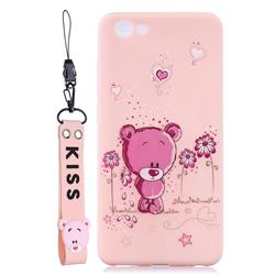 Pink Flower Bear Soft Kiss Candy Hand Strap Silicone Case for vivo Y71(vivo Y71i)