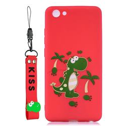 Red Dinosaur Soft Kiss Candy Hand Strap Silicone Case for vivo Y71(vivo Y71i)