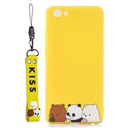 Yellow Bear Family Soft Kiss Candy Hand Strap Silicone Case for vivo Y71(vivo Y71i)