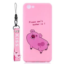 Pink Cute Pig Soft Kiss Candy Hand Strap Silicone Case for vivo Y71(vivo Y71i)