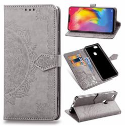 Embossing Imprint Mandala Flower Leather Wallet Case for vivo Y83 - Gray