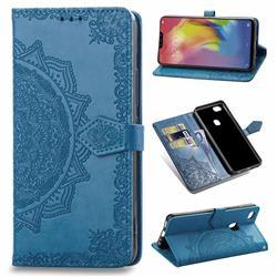 Embossing Imprint Mandala Flower Leather Wallet Case for vivo Y83 - Blue