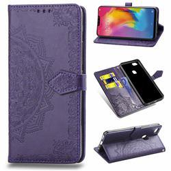 Embossing Imprint Mandala Flower Leather Wallet Case for vivo Y83 - Purple