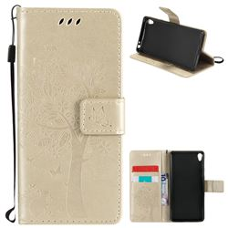 Embossing Butterfly Tree Leather Wallet Case for Sony Xperia E5 - Champagne