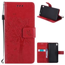 Embossing Butterfly Tree Leather Wallet Case for Sony Xperia E5 - Red