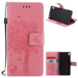 Embossing Butterfly Tree Leather Wallet Case for Sony Xperia E5 - Pink