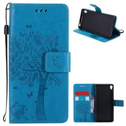 Embossing Butterfly Tree Leather Wallet Case for Sony Xperia E5 - Blue