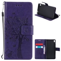 Embossing Butterfly Tree Leather Wallet Case for Sony Xperia E5 - Purple