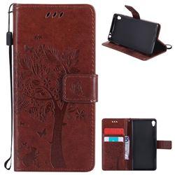 Embossing Butterfly Tree Leather Wallet Case for Sony Xperia E5 - Brown