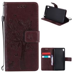 Embossing Butterfly Tree Leather Wallet Case for Sony Xperia E5 - Coffee