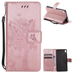 Embossing Butterfly Tree Leather Wallet Case for Sony Xperia E5 - Rose Pink