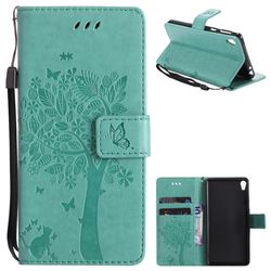 Embossing Butterfly Tree Leather Wallet Case for Sony Xperia E5 - Cyan