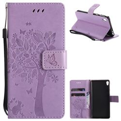 Embossing Butterfly Tree Leather Wallet Case for Sony Xperia E5 - Violet