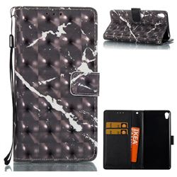 Black Marble 3D Painted Leather Wallet Case for Sony Xperia E5
