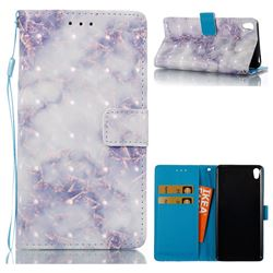 Green Gray Marble 3D Painted Leather Wallet Case for Sony Xperia E5