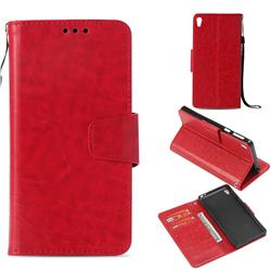 Retro Phantom Smooth PU Leather Wallet Holster Case for Sony Xperia E5 - Red