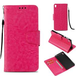 Retro Phantom Smooth PU Leather Wallet Holster Case for Sony Xperia E5 - Rose
